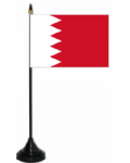 Bahrain Desk / Table Flag with plastic stand and base.